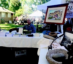 Harld Cox representing the Tehachapi Heritage League at the Kern County 150th birthday celebration.