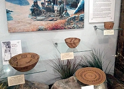 Four baskets woven by Refugia Williams are on display in the Tehachapi Museum's Milano Gallery.