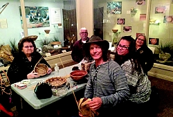 Some of the Kawaiisu Language Class meeting in the Milano Gallery. During the class, they also work on basket making skills. L to R: Janice Williams, Kawaiisu Elder; David Turner; Jon Hammond; Julie Turner; and Marlene Ortega.