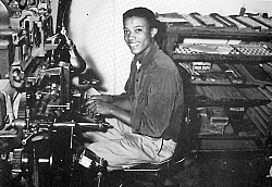 This photo of Byron Early (THS class of '55) at the keyboard, was taken in 1954 at the newspaper office on the north side of F Street where the office was relocated after the earthquake of 1952.