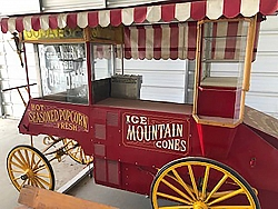 One of our newest additions is a vintage popcorn cart. It even makes snow cones!