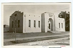 Black and white postcard print of Kern County Free Library, Tehachapi Branch postmarked September 1938.