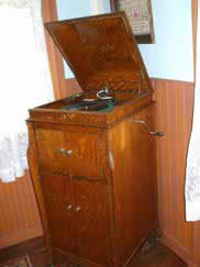 Phonograph recently donated by Ed and Susan Wiggins, originally belonged to Ed's grandmother, early 1900's businesswoman Mrs. Weferling.