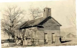 """Old Town School"" Tehachapi, built in 1869, photo taken in 1930."
