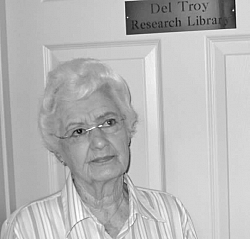 Del stands at the entrance to the Del Troy Research Library in the 2010 addition to the Tehachapi Museum.