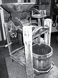 This is one of two antique apple presses on display at the Museum and Errea House, this one donated by Mary Cunningham.