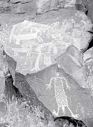 Thousands of rock drawings called petroglyphs cover the walls of ancient basalt cliffs of the extreme northwestern corner of the Mojave Desert near Ridgecrest.